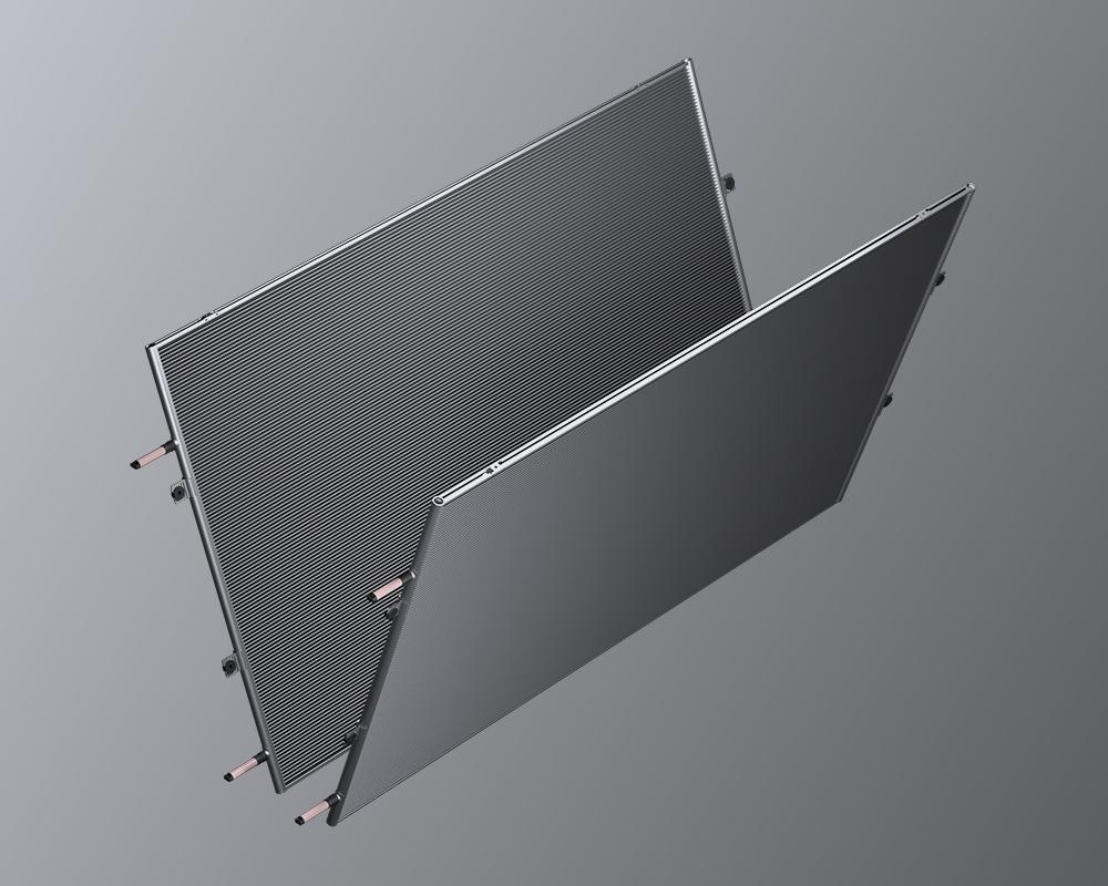 V-bank microchannel condenser
